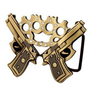 Bronze Double & Jeweled Brass Knuckles Belt Buckle S Weapons Pistol 9 Hip - Big Brass Buckle