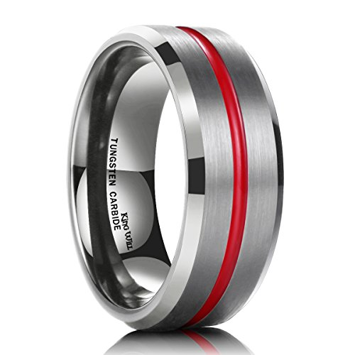 - King Will 7mm Thin Red Groove Brushed Tungsten Carbide Wedding Ring Band Comfort Fit(9)