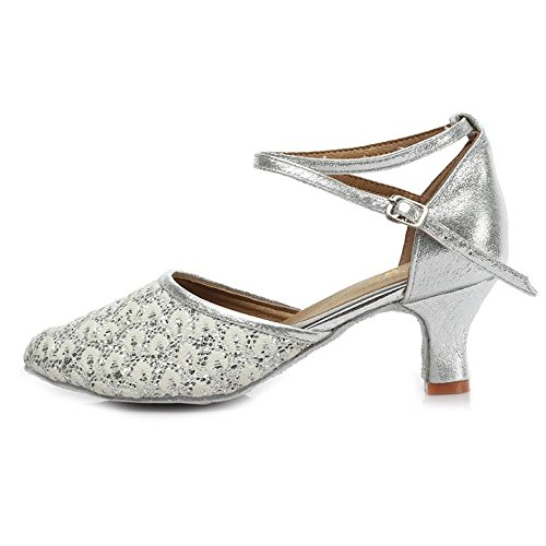 HROYL Women MF5-18025 Leather Latin/Modern/Chacha/Samba Dance Shoes Ballroom 5CM Silver mjxLCJe