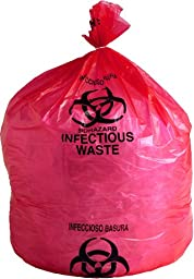 Biohazard Bags LD Red Infectious Waste Liners 1.5 Mil Thick 24\