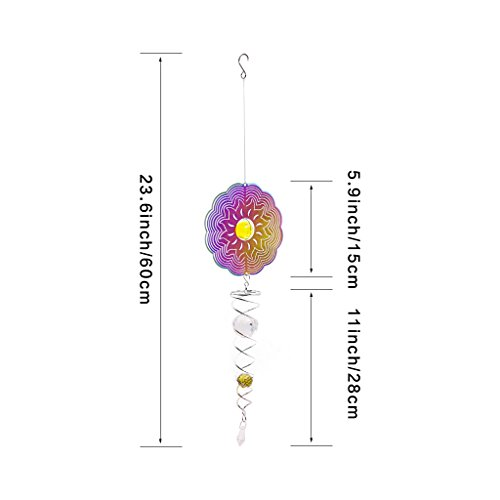 Ymeibe Sun Hanging Spinner Garden Galvanized Wind Spinner Outdoor with Helix Spiral Tail and Glass Ball 3-D Stainless Steel Kinetic Twisting Decor for Patio, Deck or Yard by Ymeibe (Image #4)