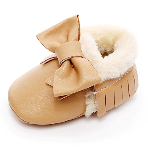 Huhu833 Neugeborene Lovely Kleinkind Schuhe Bowknot Weiche Sohle Schneeschuhe Weiche Krippe Baumwolle Schuhe Kleinkind Stiefel (0~18Month) Khaki