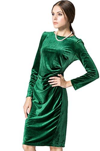 A Verde U GirlVestito Lunghe Leies Fasciante Collo Maniche Donna w8nOPk0
