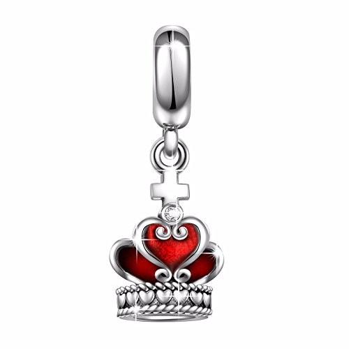 (Angemiel 925 Sterling Silver Dangle Heart Cross Crown Charms Bead for European Snake Chain Bracelets)