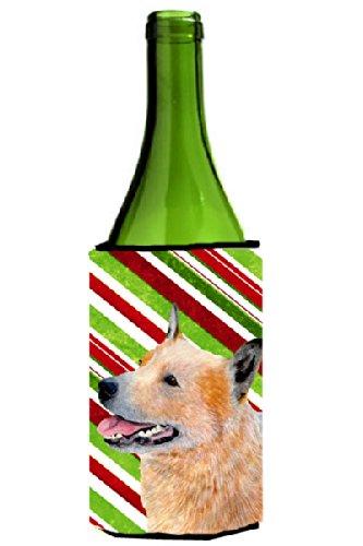 Aislante para bebidas con diseño de caña de dulces de gatos australianos para día festivo, Navidad, botella de vino