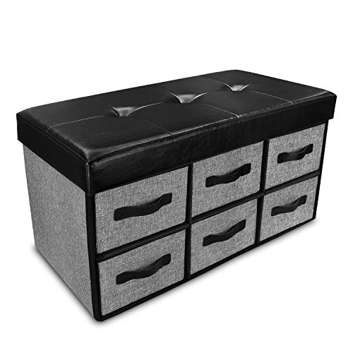 Ikee Design Foldable Storage Ottoman Bench with 6 Drawers Collapsible Drawer Footstool with Superior Faux Leather and Gray Linen Perfect for Entryway, Bedroom