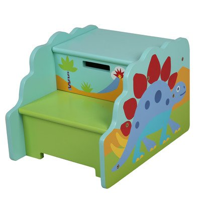 Levels of Discovery Olive Kids Dinosaur 2 Step Step Stool with Storage, Blue/Green/Red by Levels of Discovery