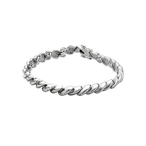 Twist Link Bracelet with Diamonds in Sterling Silver-Plated Brass