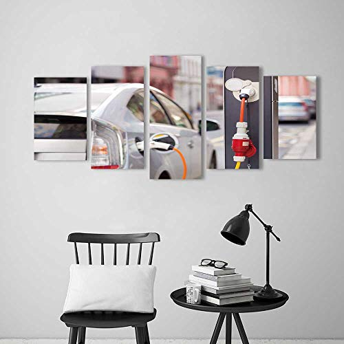 5 Pieces Art The Picture for Home Decoration Frameless Power Supply for Electric car Charging Electric car Charging Station Close Art for Home Decorations Wall Decor -