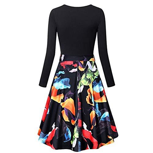 TnaIolral Women Dresses Long Sleeve Vintage Elegant Flared Swing Black