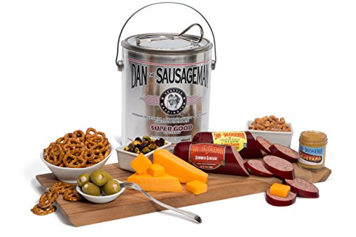 (Dan the Sausageman's Perfect for the Palate Gift Basket -Featuring Dan's Summer Sausage, Sweet Hot Mustard, and 100% Wisconsin Cheese,)