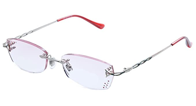 048f1c37c2a5 De Ding Womens Tinted Red Lens Rimless Reading Glasses With rhinestone  +1.00 to +4.00