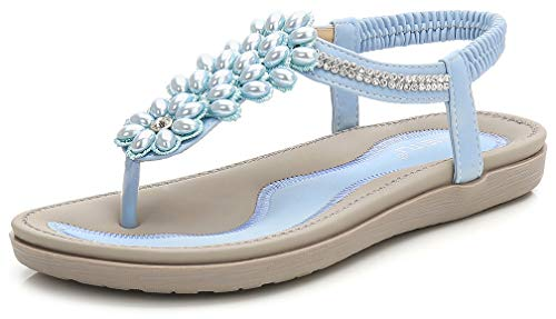 Women's Summer Glitter Thong Flat Sandals, Baby Blue T Strap Flip Flops Bohemia Rhinestone pearl Comfy Elastic Back Strap Closure Anti Skid Cushion Low Top Beach Wear Shoes Back to School Vacation