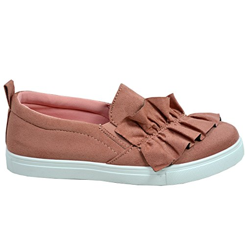 Bow Comfy 8 Flats New Slip On Fashion Shoes Cucu Sneakers 3 UK Ladies Size Womens Pink Trainers vwnTntqC