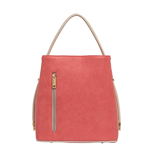 samoe-style-lovely-coral-pink-and-beige-trim-classic-convertible-handbag