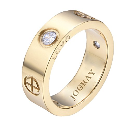 JoGray Stainless Steel Designer Cross CZ Band Love Wedding Ring Gold Finish 6MM in Width US7
