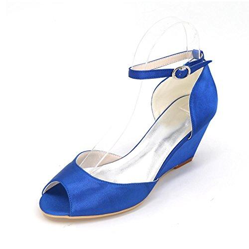 L@YC Zapatos de mujer Tacón de aguja Peep Toe Sandalias de boda Multicolor Blue