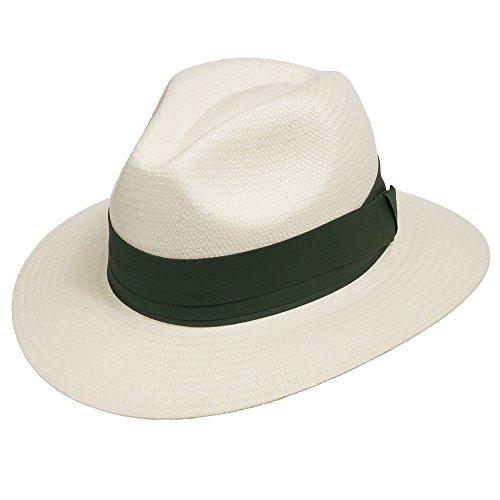 Ultrafino Monte Cristo Straw Fedora Panama Hat Ivory with Green Hatband 7 5/8