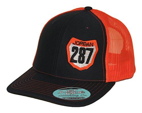 JUST RIDE Number Plate Snapback Mesh Hat Custom Personalized Motocross Moto (Orange-Navy Black #'S KTM)