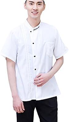 Milong Chaqueta de Chef Pastelero Camisa de Camarero Uniforme de Trabjo de Manga Corto Transpirable para Pastelería Restaurante Blanco 1XL: Amazon.es: Hogar