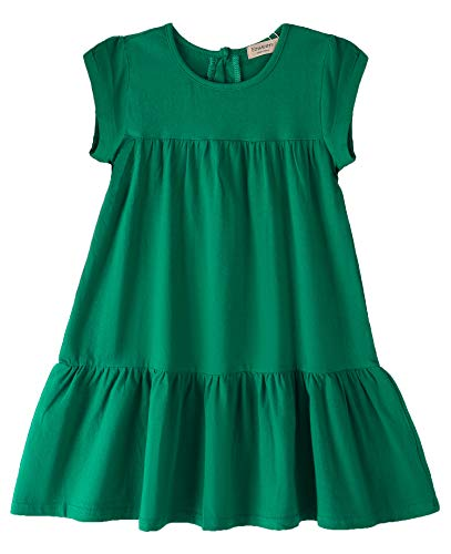 Youwon Toddler Girls Dress Short Sleeve Solid Color Tunic A-Line Tiered Swing Dress 2-6 7-16 Green -