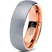 Charming Jewelers Tungsten Wedding Band Ring 7mm Men Women Comfort Fit 18k Rose Yellow Gold Plated Blue Black Grey Dome Brushed