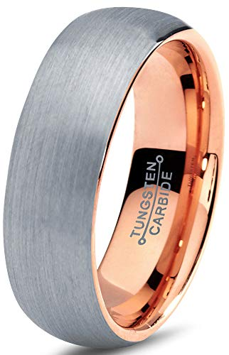Charming Jewelers Tungsten Wedding Band Ring 7mm Men Women Comfort Fit 18k Rose Gold Plated Grey Dome Brushed Size 10 ()