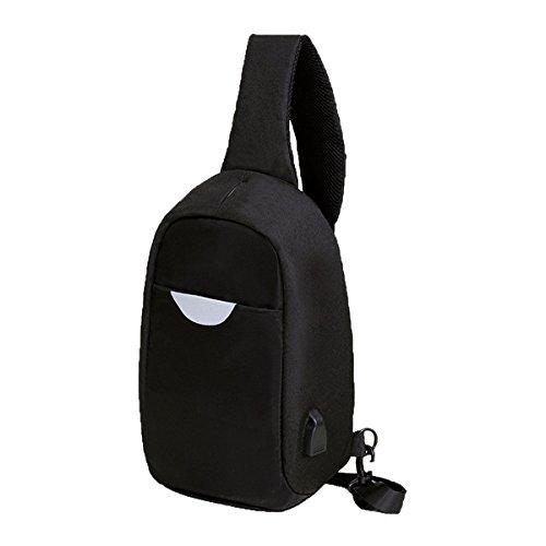 Moda De Agua Deportes Concisas A Prueba De Tórax Duradera Bolsas De Cuero Mochila Multicolor Black