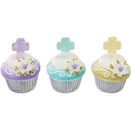 Pastel Cross First Communion Baptism Cupcake Topper Picks - Set of 12