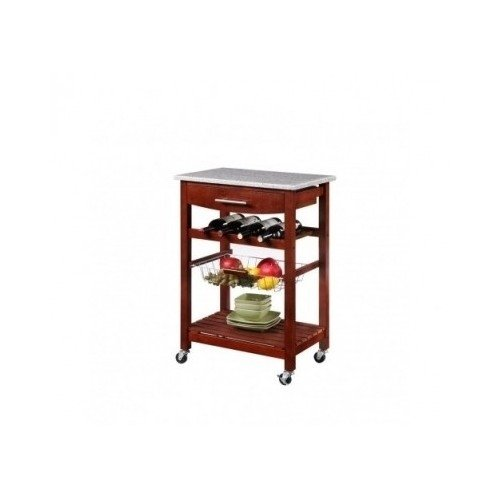Kitchen Cart Island Wine Rack Granite Top Microwave Stand Wire Basket Furniture