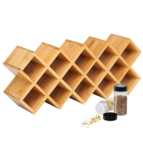 Criss-Cross 18-Jar Bamboo Countertop Spice Rack Organizer, Kitchen Cabinet Cupboard Wall Mount Door Spice Storage, Fit for Round and Square Spice Bottles, Free Standing for Counter, Cabinet or Drawers (Crisscross Wine Rack)