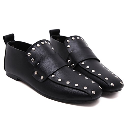 Europe And The United States Rivets Square Head British Style Flat Back Lazy Shoes Black