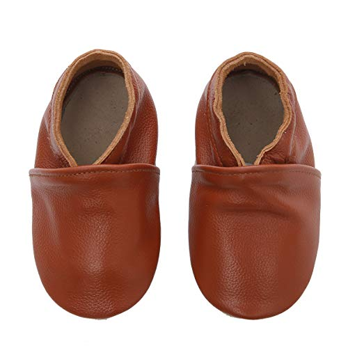 (First Walker Leather Baby Shoes with Soft Sole for Boy Girl 0-6-12-18-24 Months (6-12 Months, Cognac Brown))