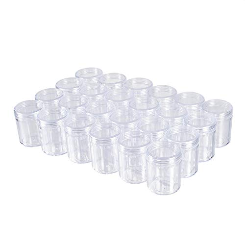 BENECREAT 24 Pack 1.5 x2 40ml Empty Clear Plastic Bead Storage Container jar with Rounded Screw-Top Lids for Beads, Nail Art, Glitter, Make Up, Cosmetics and Travel Cream