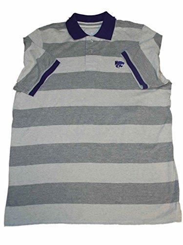 Antigua Kansas State Wildcats Dark Light Gray Striped Golf Polo T-Shirt (L)