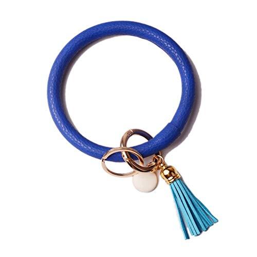 L&N Rainbery PU Leather O Key Chain Circle Tassel Wristlet Keychain for Women Girls (Tassel Blue)