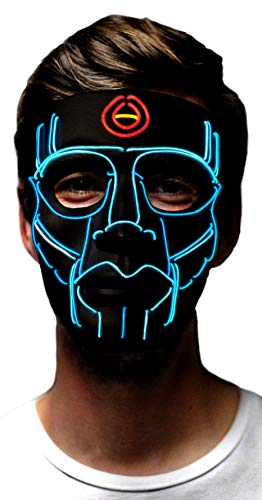 MuraK Light up Mask Sound Activated [ LED Cosplay Masks/Halloween, Christmas, Festival, Party/Flash to Music ] (Blue) -