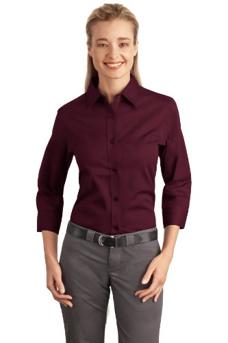 Port Authority Women's 3/4 - Sleeve Easy Care Shirt, burgundy, Small (Authority Sports)