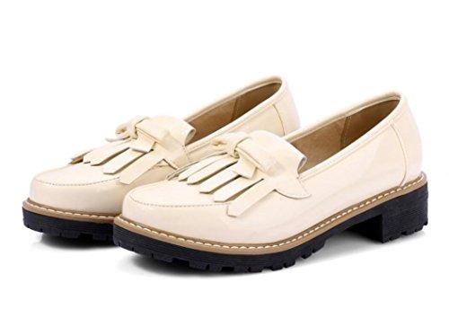 SHFANG Señora Zapatos Primavera Otoño Redonda Cabeza Fringed Nudo de la mariposa Colmillo y Universidad Viento Compras Diaria Estudiantes Chica Tres Colores 4cm Beige