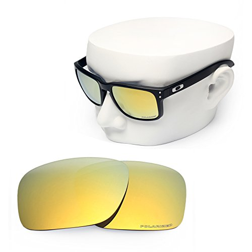 OOWLIT Replacement Sunglass Lenses for Oakley Holbrook 24K Gold Mirror - Holbrooks Oakleys Gold