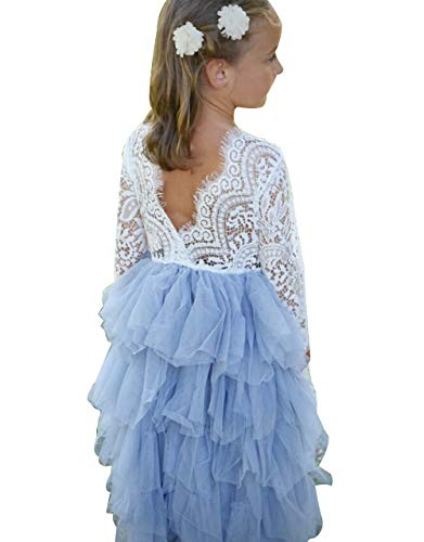 Baby Toddle Girls Tutu Dress Short Sleeves&Sleeveless Stripe Tulle Skirts A-line Dress (White q Blue Long Sleeve, 6-12 - And White Baby Girl Blue Dress