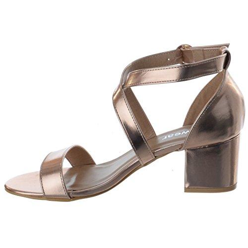 Knöchelriemen Damen Größe MID offen Rotgold Peeptoe Sandalen Riemchen Blockabsatz Schuhe NIEDRIG metallisch Party Damen AgwqrA0