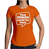 Idakoos Women T-Shirt Add Your own Custom Picture Text on Front Size L Orange