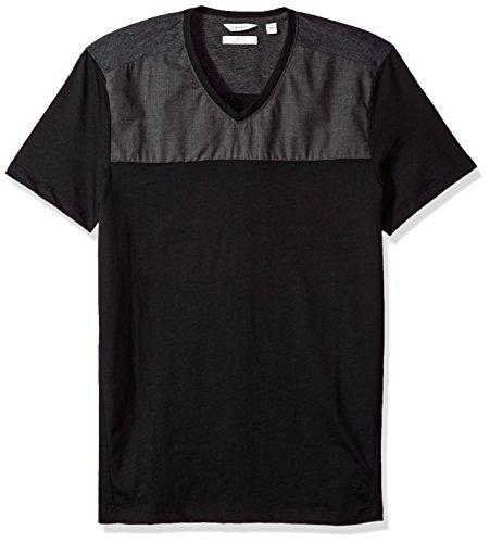 9b791a4e4e2 Calvin Klein Men s Short Sleeve T-Shirt with V-Neck and Woven Chest Design