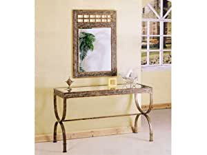 Entry Way Console Table Brown Metal Frame