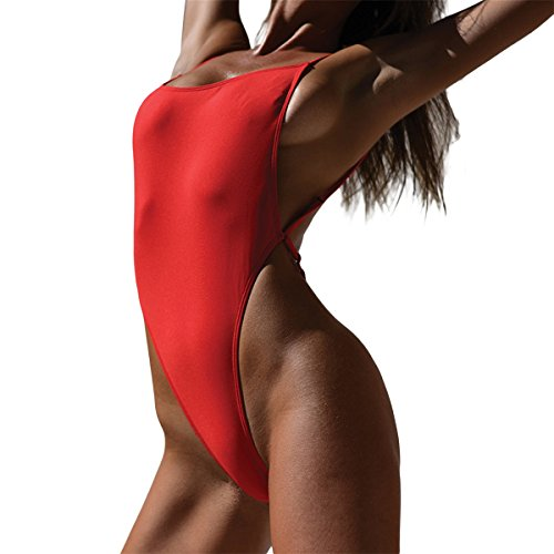 Bikini G-string Thong (NE Norboe Strappy One Piece Backless Sexy Thong Bikini Swimsuits High Waist G String Bathing Suit for Women(Red, S))