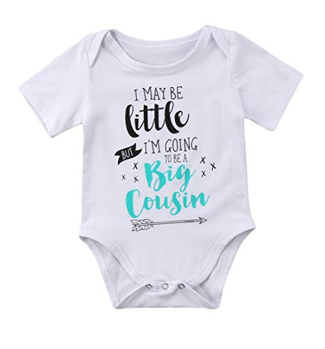Guogo Newborn Baby Boys Girls Bodysuit I May Be Little But I'm Going To Be A Big Cousin Bodysuit Onesies Baby Romper (White, 0-6M)