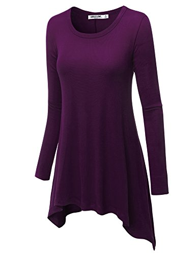 LL WT953 Womens Round Neck Long Sleeve Rib Trapeze