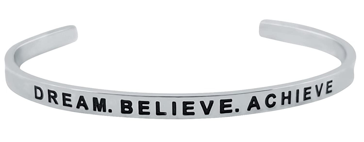 "Inspirational ""DREAM. BELIEVE. ACHIEVE."" Motivational Cuff Bracelet for Good Karma and Luck"