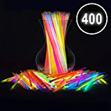 "Glow Sticks Bulk Party Favors 400pk - 8"" Glow in The Dark Party Supplies Light Sticks, Halloween Decorations, Glow Necklaces and Bracelets for Kids"